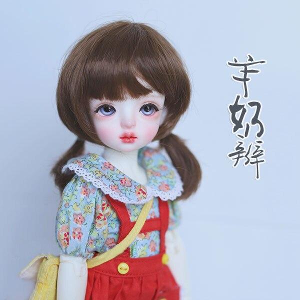BJD кукольные волосы парики шоколадный цвет имитация мохера двойной хвост парики для 1/6 BJD YOSD Куклы супер мягкие волосы куклы аксессуары