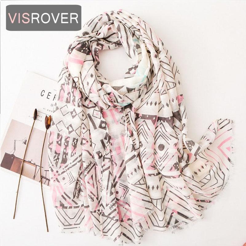 VISROVER de la marca de lujo de Cachemira suave tacto de verano las mujeres chal con flor de impresión de alta calidad bufanda del Hijab al por mayor