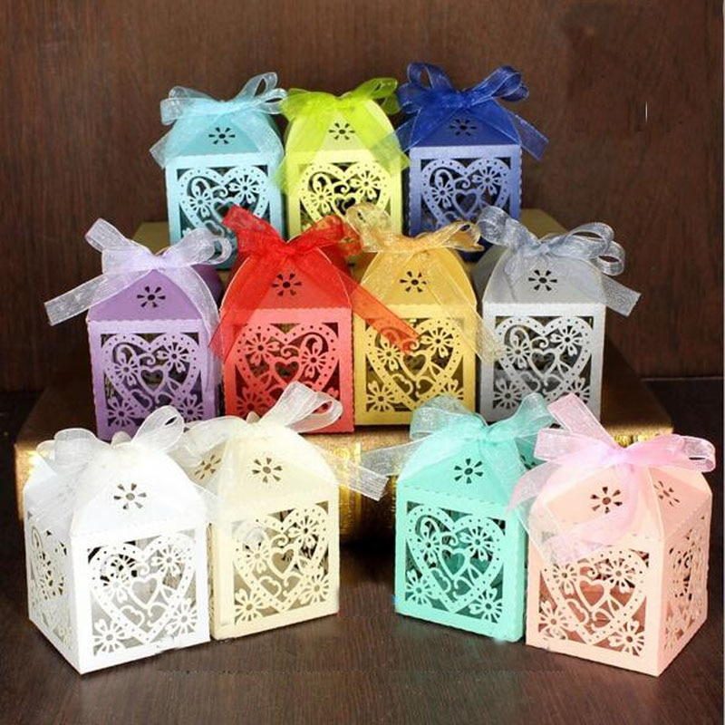 10 шт./компл. Любовь Сердце Лазерная резка полые перевозки сувениры подарок коробка сладостей с лентой детский душ Свадебные товары