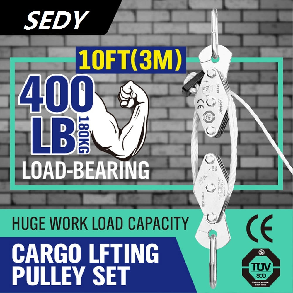 2020- 180kg Winch Stainless Steel Cargo Lifting Pulley Set Labor Saving Winch Double 4 Groove Pulley Labor-saving Lifting Tool