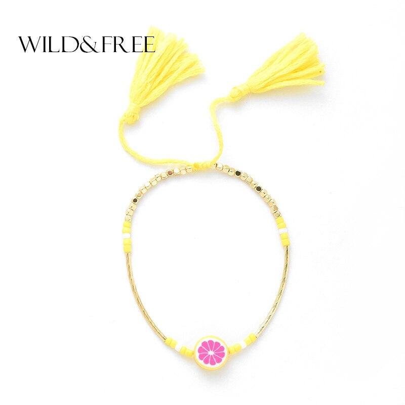 Salvaje y libre verano limón encanto pulseras para mujeres amarillo algodón borla colgante CCB brazaletes con cuentas de semillas brazaletes joyería hecha a mano