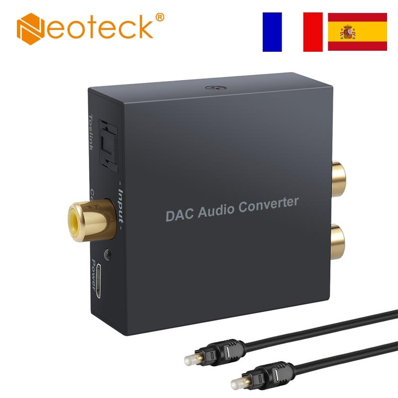(Envío desde China/España/Francia) Neoteck 96KHz Coaxial óptico Digital Coaxial Toslink a RCA analógico Adaptador convertidor de Audio L/R