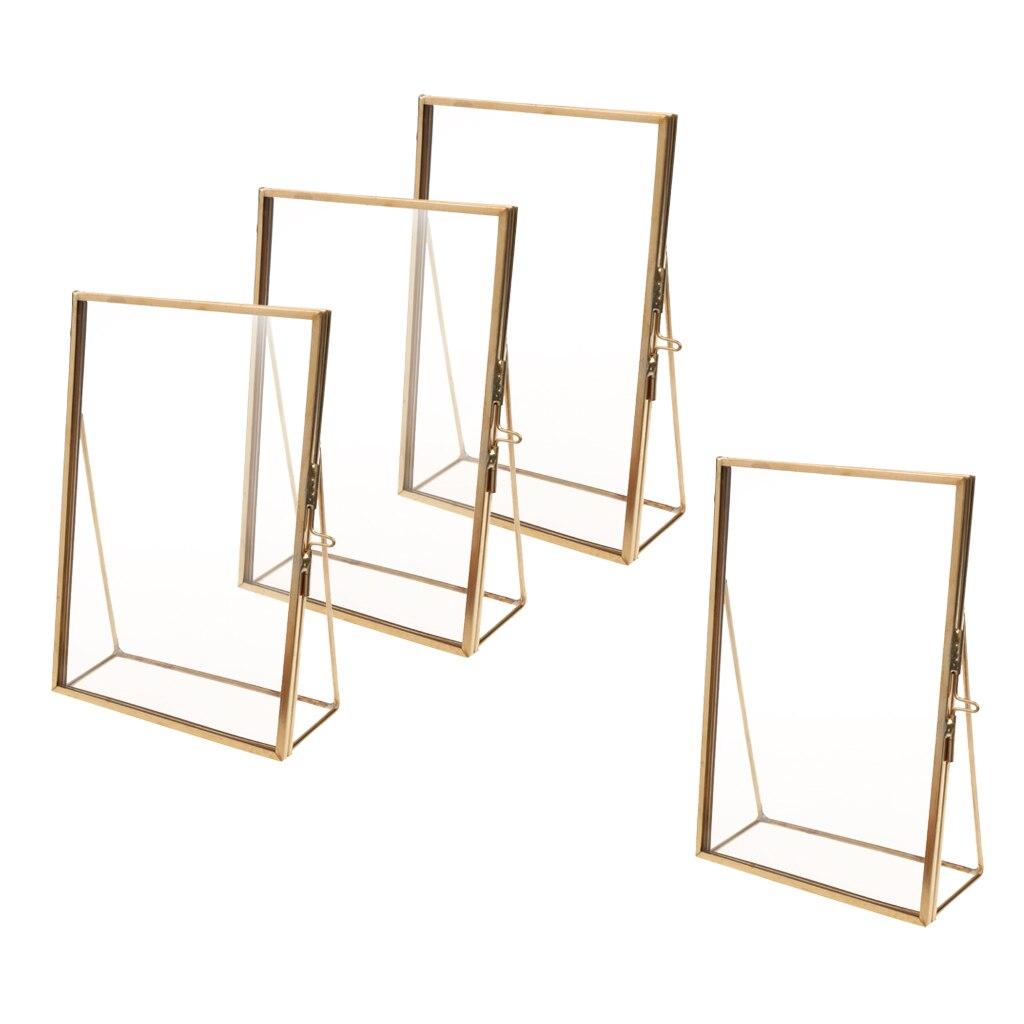 4 piezas marco de foto de cristal retrato decoración del hogar pantalla independiente flor prensada planta hojas-oro