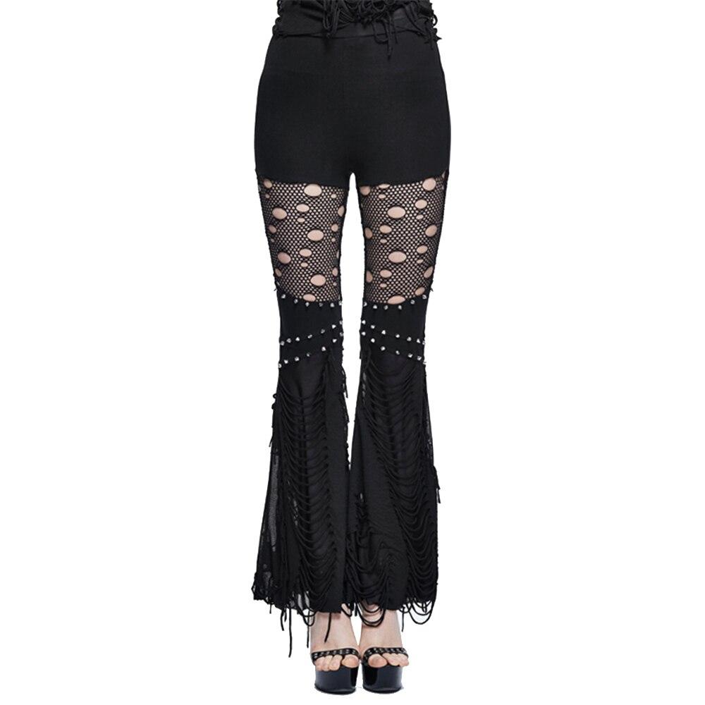 Devil Fashion, pantalones góticos oscuros de cintura alta para mujer, pantalones largos Bodycon Steampunk, pantalones acampanados de alta calidad