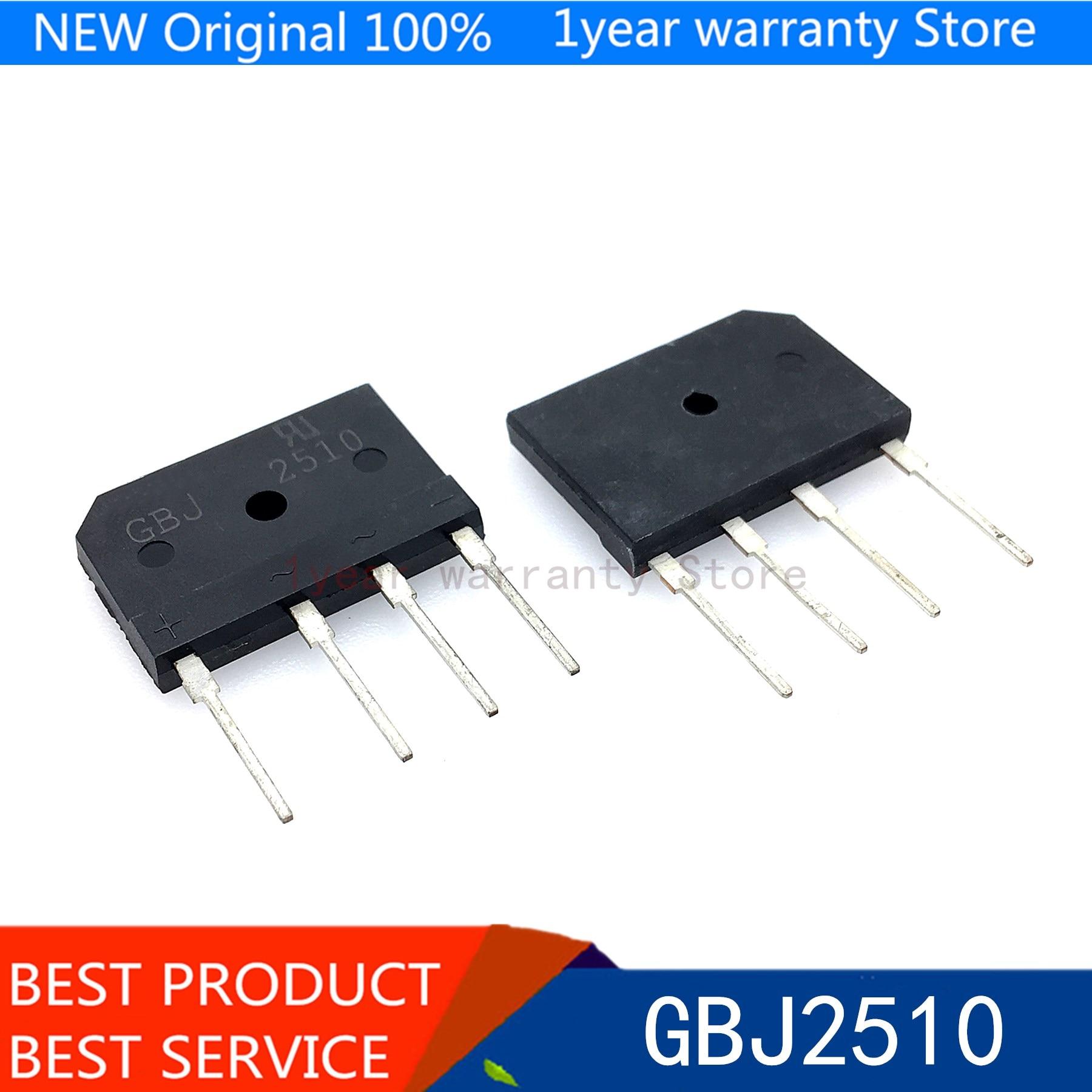 5 uds GBJ2510 KBJ2510 2510 25A 1000V rectificador de puente