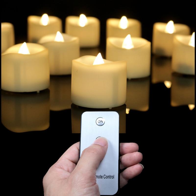 Luces led parpadeantes con control remoto, luz amarilla, vela decorativa, control remoto,...