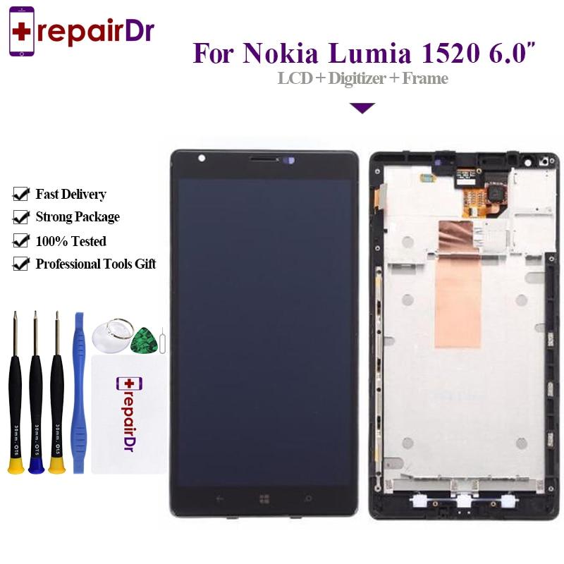 Original para NOKIA Lumia 1520 pantalla LCD buen funcionamiento para NOKIA 1520 pantalla Lcd pantalla táctil Digitalizador con marco de montaje