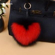 Heart pattern letter big fox fur Pom Pom ball love keychain pompom fluffy bag charm pompon porte clef women girl key chain gift