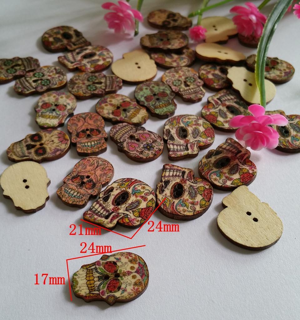 50 unids/lote 2 agujeros cráneo botones de madera Ajuste de costura y Scrapbooking 19x14mm mezclado al azar accesorios de costura para Decoración