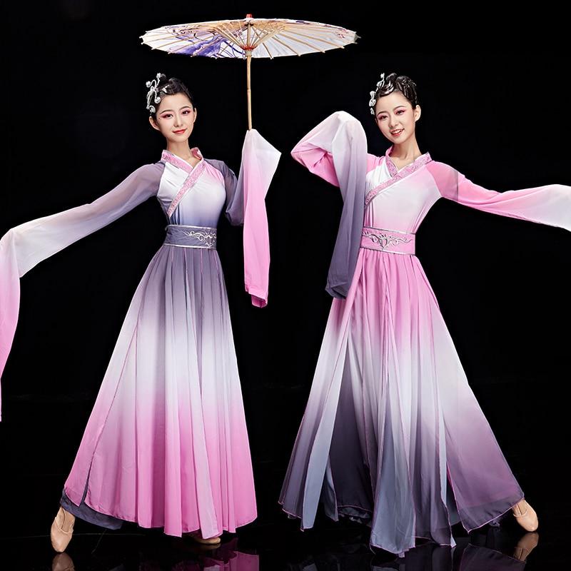 Nueva manga vestido de baile estilo chino clásico trajes para baile yangko femenino elegante estilo antiguo mangas Hanfu ropa para adultos