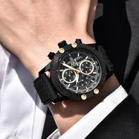 BENYAR Watch Men Quartz Chronograph Watches Business Casual Clock Mesh Steel Wrist Watches Steel Band Waterproof Watch Men Saat