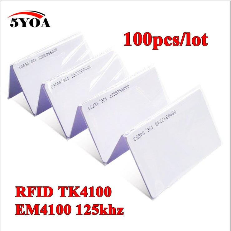 100 шт. 5YOA гарантия качества EM ID карта 4100/4102 идентификатор реакции 125 кГц RFID карта подходит для контроля доступа времени посещаемости