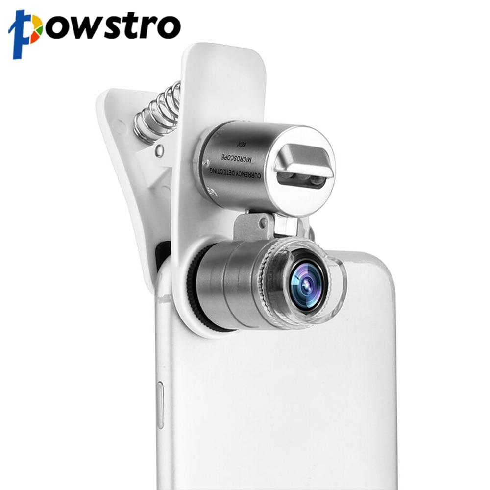 Universal Handy Mikroskop Macro Objektiv 60X Optische Zoom Lupe Micro Kamera Clip LED Linsen Für iPhone SE 5S 6S Plus