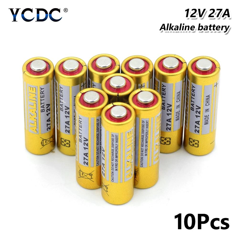10 Uds 12 V 27a A27 Batería alcalina para Control remoto de los dispositivos de seguridad timbres G27A MN27 MS27 GP27A A27 L828 V27GA EL812
