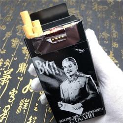 Alalinong Super Qualidade Rússia Liga de Alumínio Cigarreira Joseph Stalin Ultra Fino Masculino Cigarro Caixa de Laser Gravado Para Sempre
