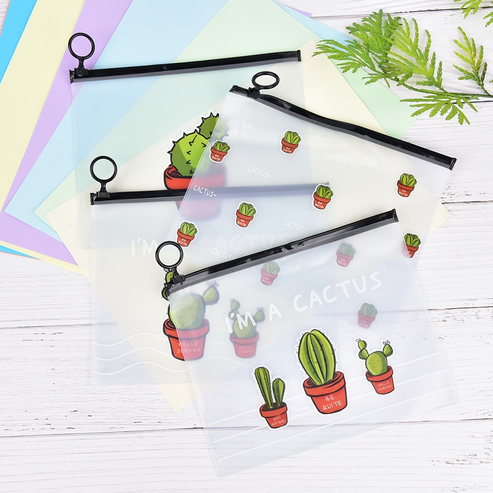 1pcs Fresh Little Clear PVC Scrub Cactus File Folder Ring Pocket Pouch Large Capacity Stationery Pencil Bags Office Supplies