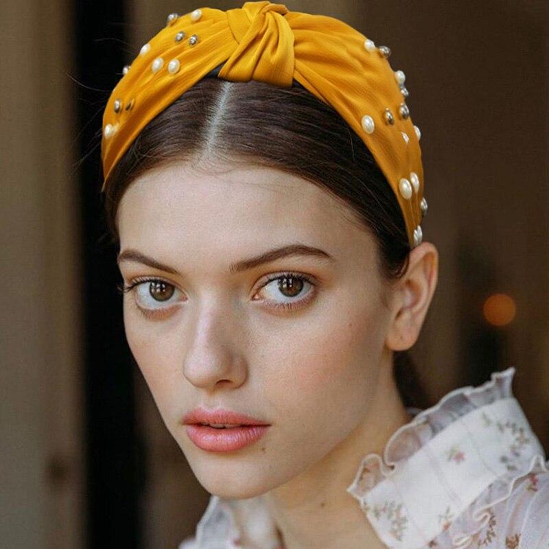 Nueva moda Top dulce turbante anudado perla simulada las mujeres accesorios de verano gran Aro para la cabeza chicas accesorios de joyas para el pelo
