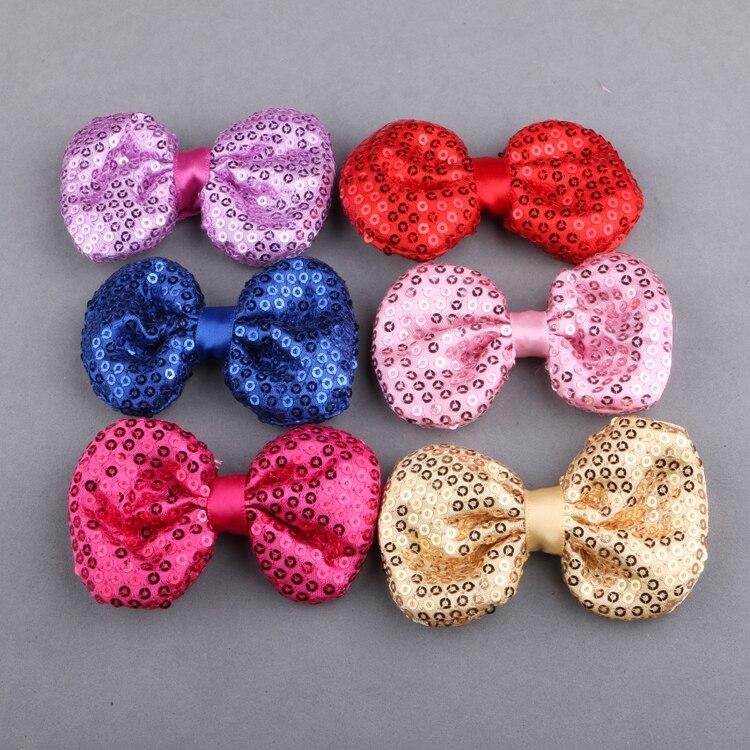 10 unids/lote 75MM lentejuelas brillo Bing arcos de cinta de tela adecuado para chicas diadema mujer Clips cabeza banda bricolaje Decoración