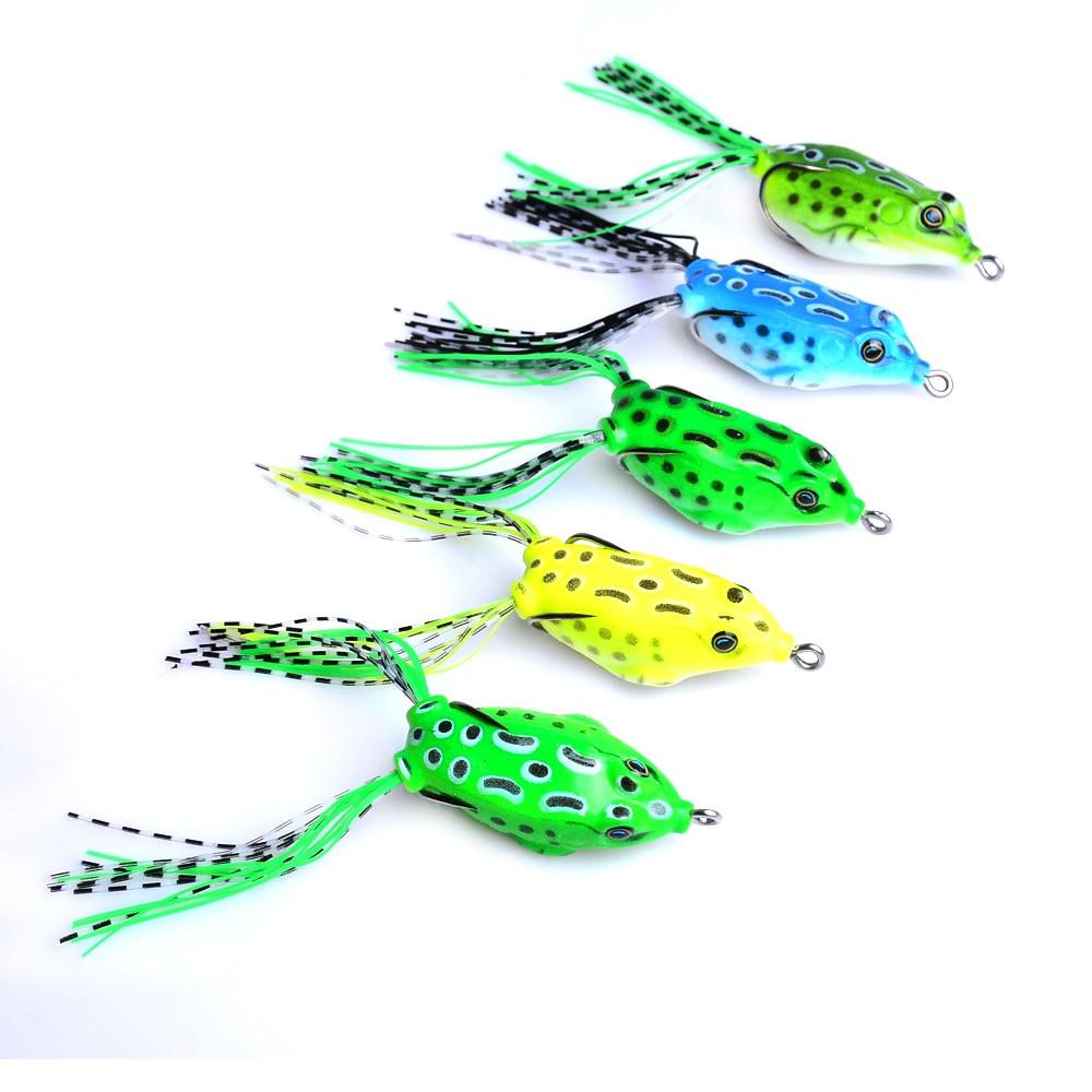 100 piezas Topwater 5,5 CM 8G Japón Rana pesca cebos Lucio pesca señuelos suave calamar plástico wobble isca pesca aparejos de pesca