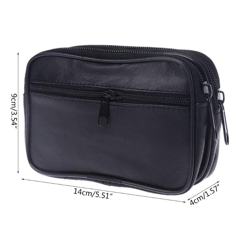 Fashion Women Men Genuine Leather Coin Purse Card Money Holder Wallet Pouch Mini Purse Double Zipper Small Change Bag New