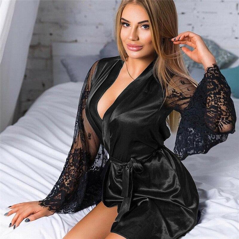 Pijama sexy con malla de encaje para mujer, Ropa de noche con cuello en V, lencería Sexy