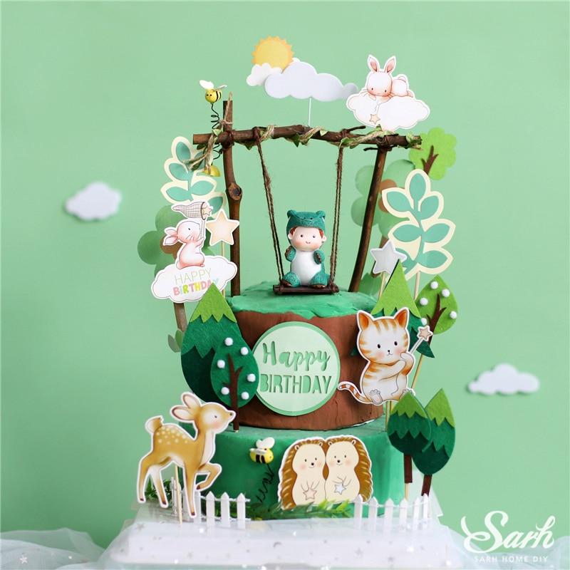 Decoración de dinosaurio para bebé, columpio, guirnalda de hojas, adornos para tartas de árbol de fieltro para chico, suministros de fiesta de San Valentín, regalos bonitos para hornear