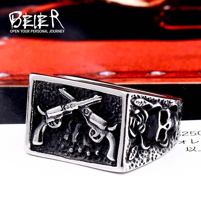 BEIER 316L Stainless Steel Bike Rock skull Men Ring Gun Fashion Jewelry Gift  Dropshipping