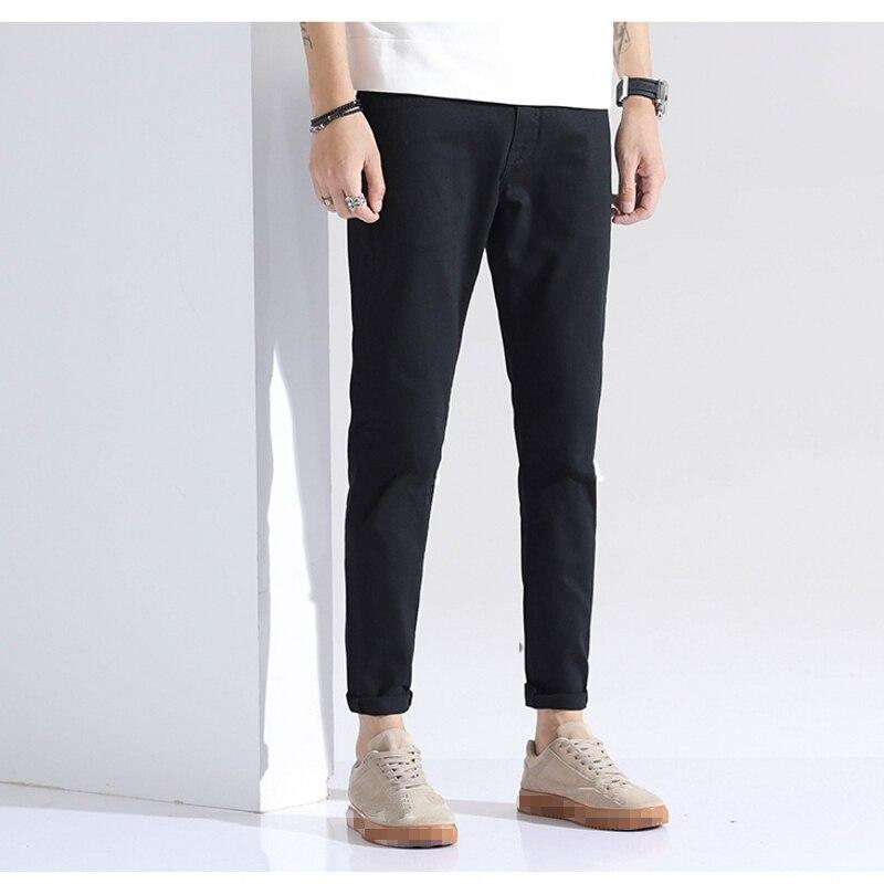 Классические весенне Летние черные обтягивающие джинсы для молодых людей тонкие