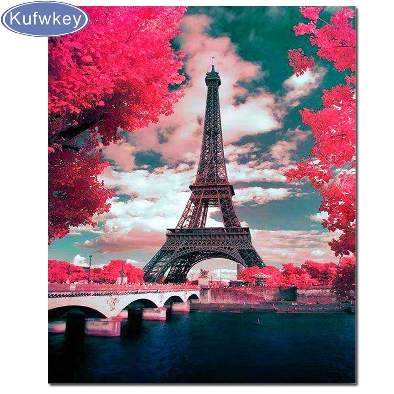 Pintura de torre de diamantes Francia París paisaje 5D DIY decoración para el hogar diamantes de imitación costura diamante bordado cuadro flores