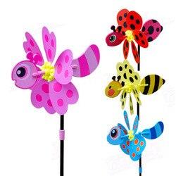 4 Pçs/set Plástico Moinho de Vento DIY Brinquedos Whirligig 3D Borboleta Dos Desenhos Animados Presente Brinquedo Clássico Pinwheel Crianças Decoração Do Jardim Ao Ar Livre