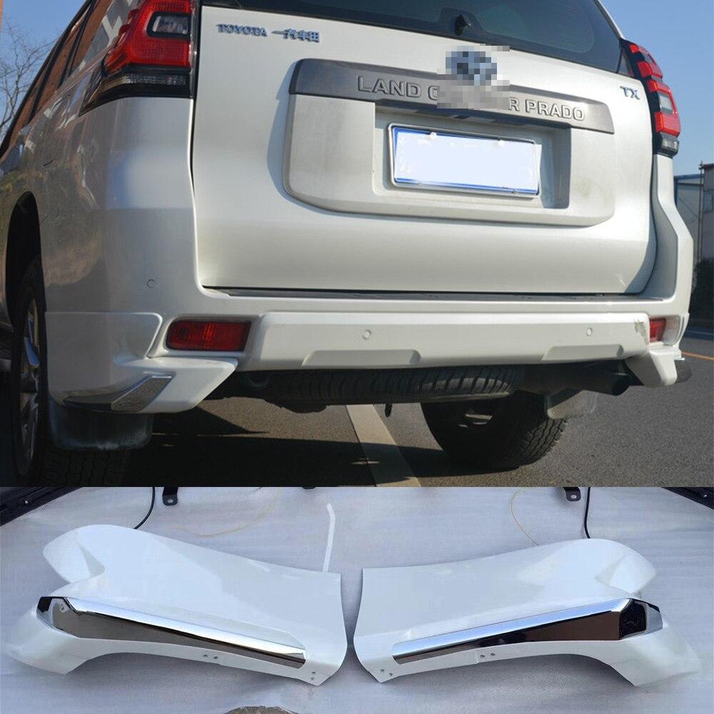 ABS plástico blanco Color trasero parachoques de esquina Skid Lip Protector cubiertas para Toyota Cruiser Prado FJ150 FJ 150 2018