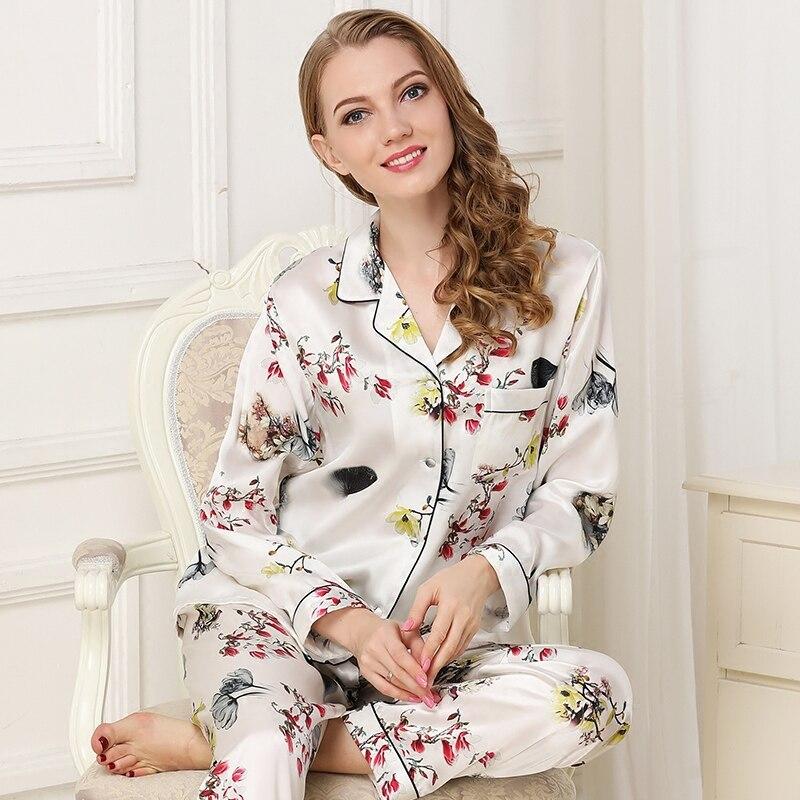 المرأة 100% الحرير بيجامة مجموعة 2019 springWomen 100% الحرير ملابس خاصة طويلة الأكمام 2 قطعة مجموعات الحرير بيجامة زهرة طباعة سيدة منامة