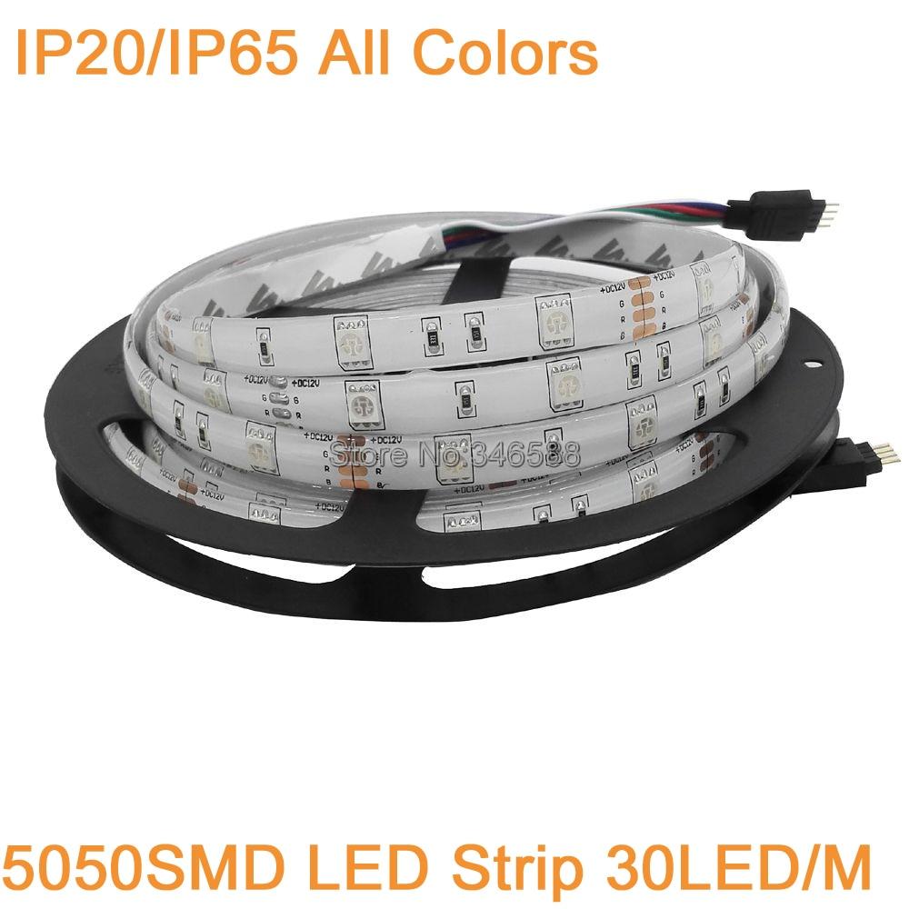 12 V 5 M 5050 LED tira de luz 30LED/M 150 LEDs IP20 IP65 Flexible impermeable cinta blanco/blanco cálido/azul/verde/rojo/amarillo/Color RGB