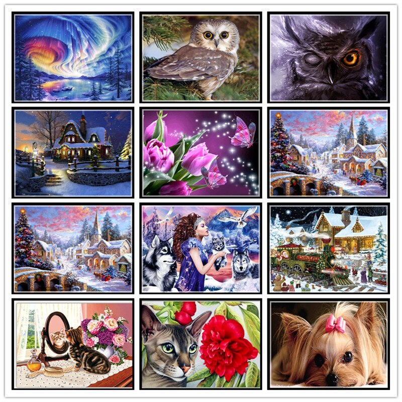 DIY home animal landscape 5D full round diamond painting cross stitch suit flower mosaic diamond embroidery painting