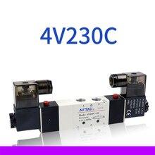 1 sztuk pneumatyczne części 1/4 ''porty 4V230C-08 DC 12V 24V AC 110V 220V 3 pozycja 5 Way zawór elektromagnetyczny powietrza