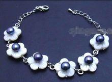 """Gran oferta de nuevo estilo> grande de 14mm blanco shell fleuret & 7mm negro perla ajustable 6-8,5 """"Bracelet-bra252"""