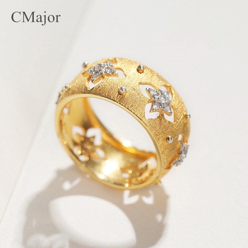 CMajor, итальянские, 925 серебряные ювелирные изделия, полые, четырехлистный клевер, кольца, элегантные, винтажные, дворцовые, золотые, на День Святого Патрика, кольца для женщин