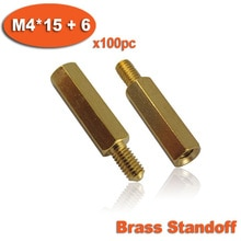 100pcs Male To Female Thread M4 x 15mm + 6mm Brass Hexagon Hex Standoff Spacer Pillars