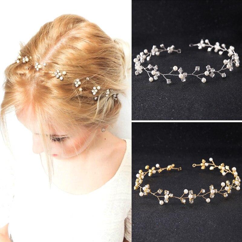 SLBRIDAL Handmade Klar Strass Kristall Perlen Hochzeit Tiara Stirnband Haar Reben Braut Kopfschmuck Haar zubehör Brautjungfern