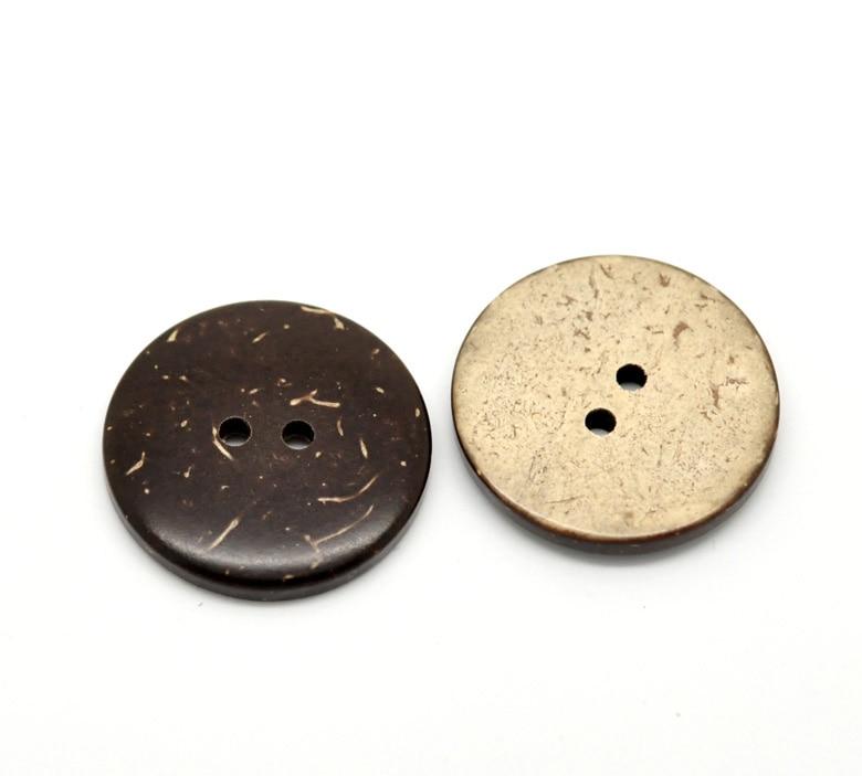 "DoreenBeads botón corozo de cáscara de coco botones de Scrapbooking redondo marrón 2 agujeros 25,0mm (1 "") Dia, 15 Uds"