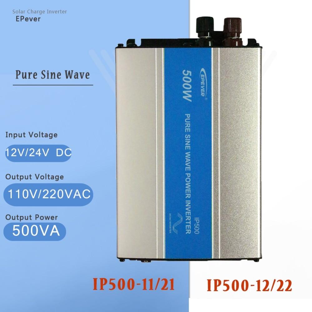 EPever IP500W-11/21 12V 24V DC transferencia 110V 220V AC potencia de 500W voltaje del inversor convertidor hembra cargador de inversor