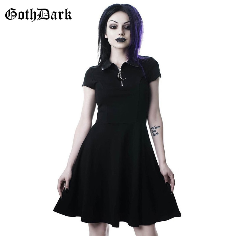 Goth Dark Grunge Aesthetic Vintage Pleated Evenging Party Dresses Gothic Elegant Solid Zipper Dress