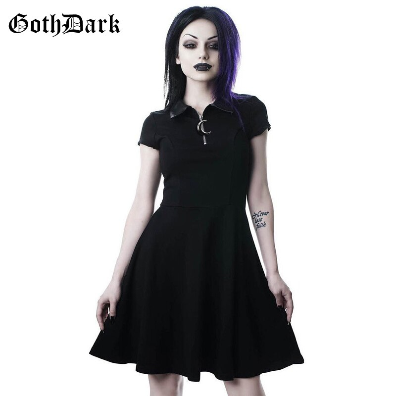 Goth Dark Grunge Aesthetic Vintage Pleated Evenging Party Dresses Gothic Elegant Solid Zipper Dress Patchwork Ruffle Vestidos