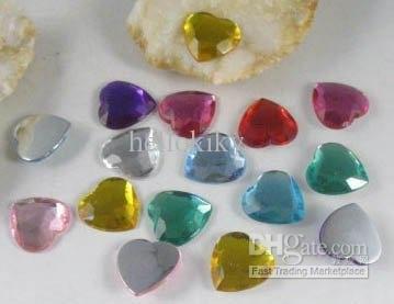 1800PCS Mixed colour Faceted Heart Acrylic Rhinestone Flatback 14mm#12322