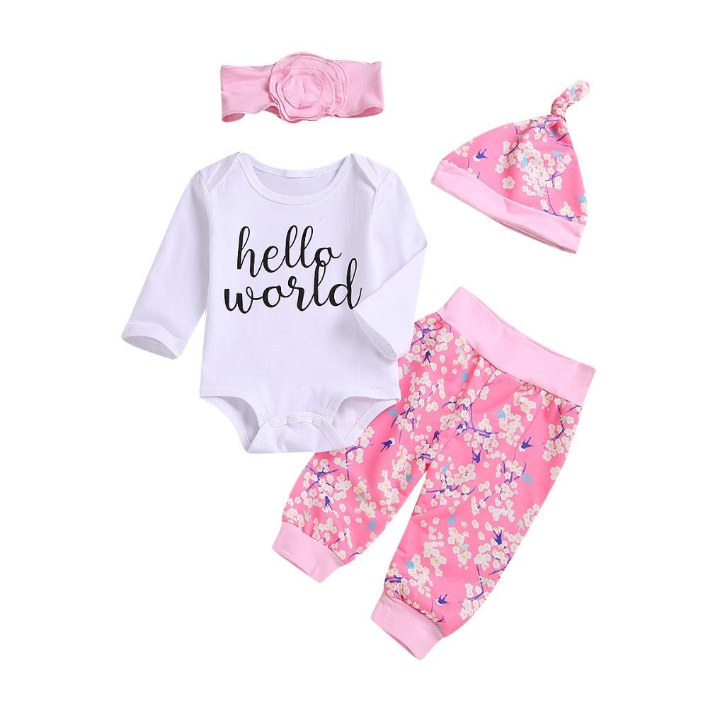 Боди для новорожденных девочек с надписью, комбинезон с длинными рукавами + штаны с цветочным принтом + повязка на голову + шапочка, комплект ...