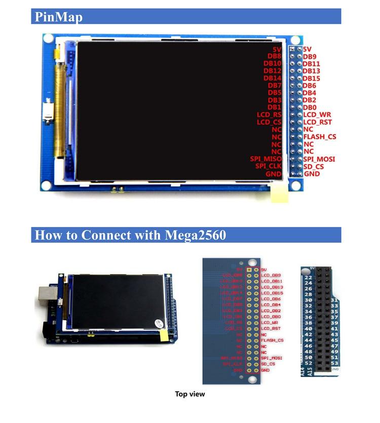 ¡Envío gratis! Módulo de pantalla LCD TFT de 3,5 pulgadas, Ultra HD, 320X480 para placa Arduino MEGA 2560 R3