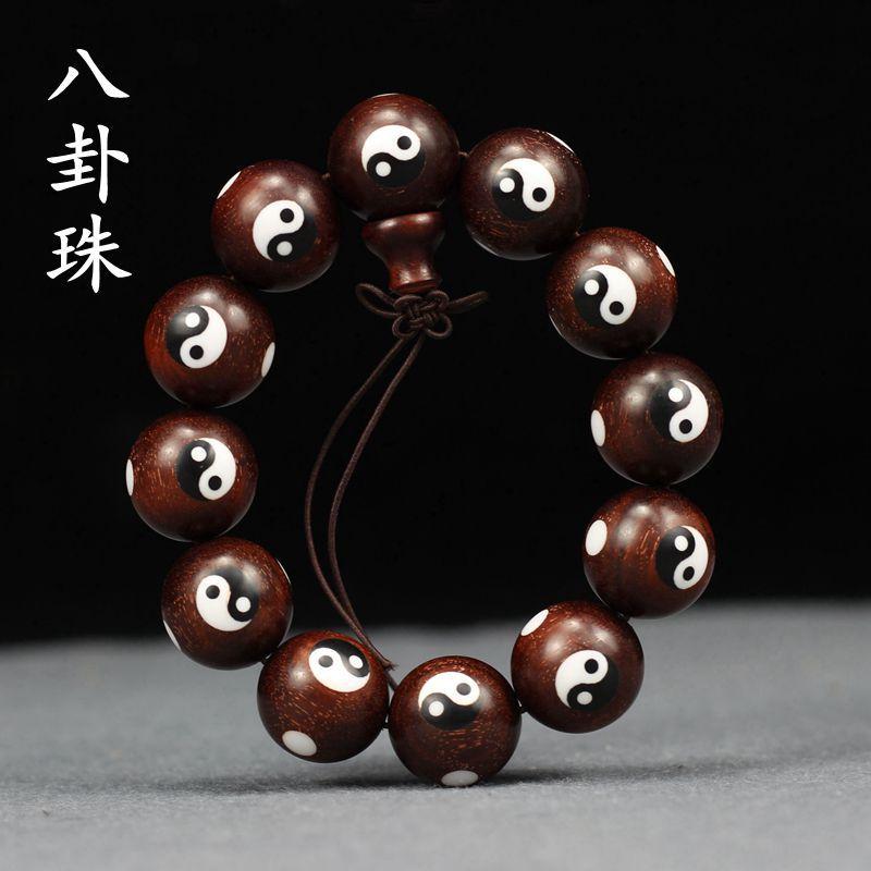 Taiji Yin Yang Leaf Rose wood antiguo Bagua chino cuentas cadenas para mano incrustadas con hueso de buey y cuenta de sándalo pulsera