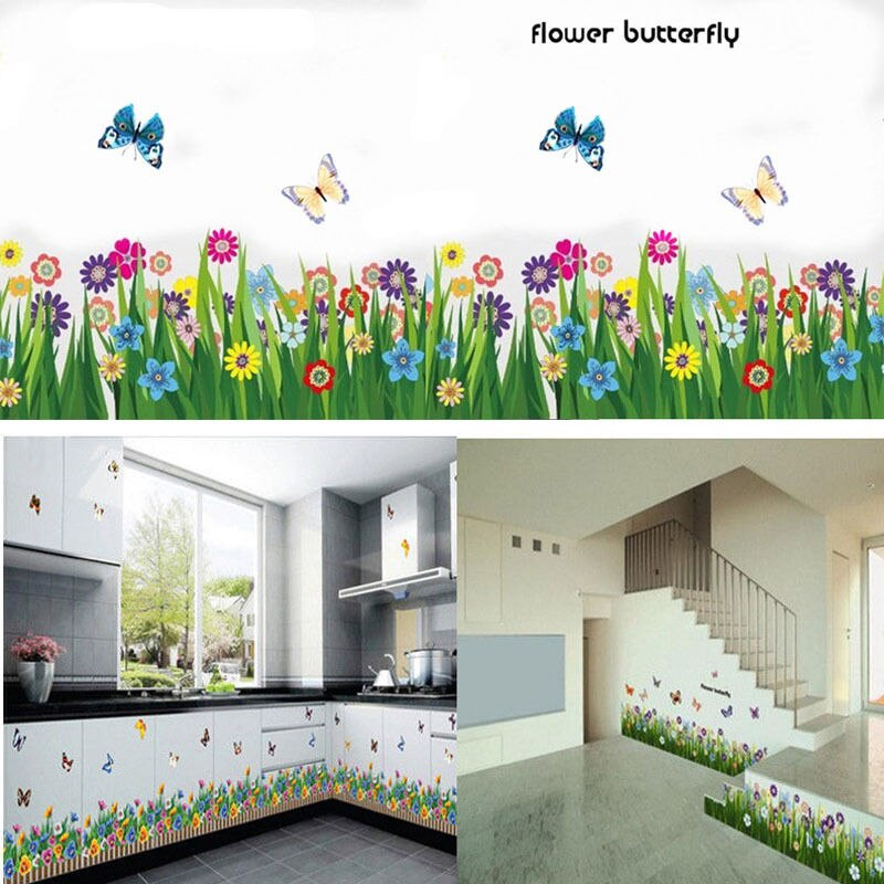 Garden Flower Grass Butterfly Wall Border Decal Flower Butterfly Grass Wall Sticker Vinyl Art Decal Mural Room Nursery Decor
