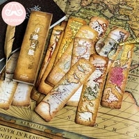 mr paper 30pcsbox vintage retro style wolrd traveling map bookmarks for novelty book reading maker page creative paper bookmark