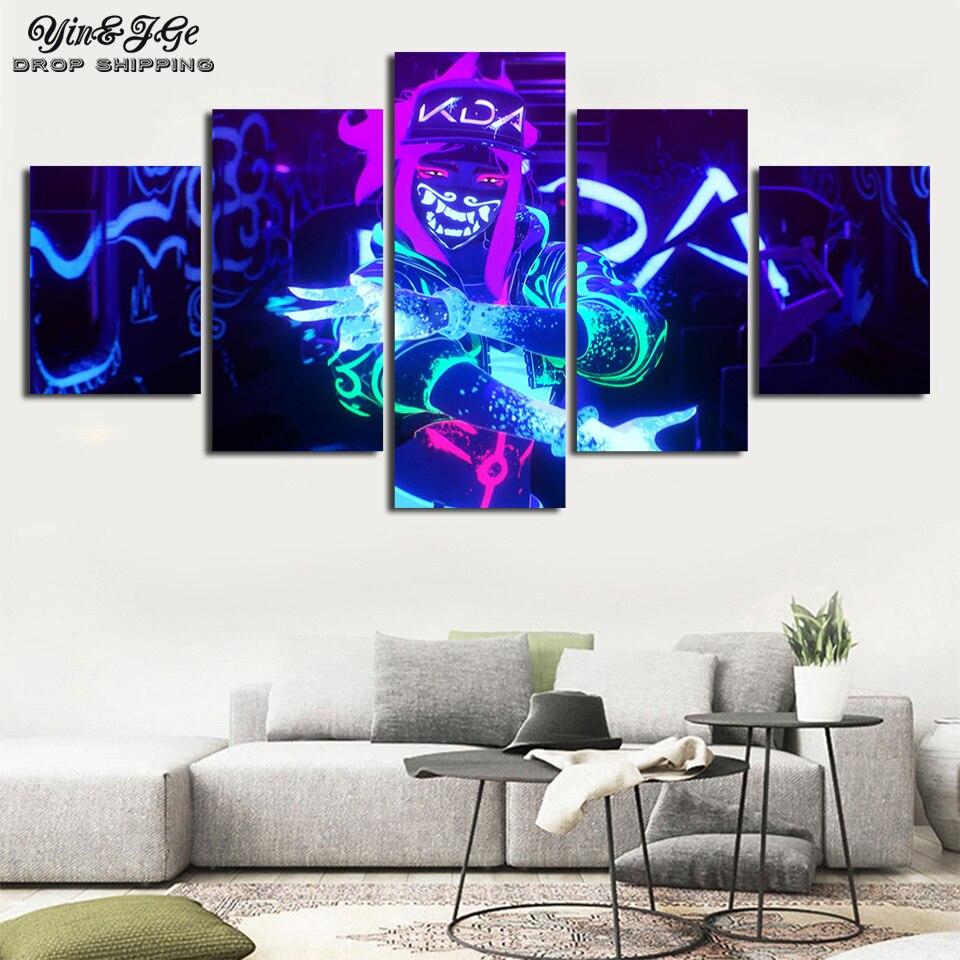 Imagem do jogo impresso decoração da sala de parede 5 peças akali k/da lol liga de lendas pintura quadro arte modular lona cartaz